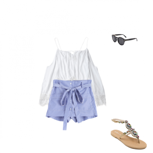 White top is the perfect for every shape of body. You can combine it whit high waisted shorts . Also with flat sandals