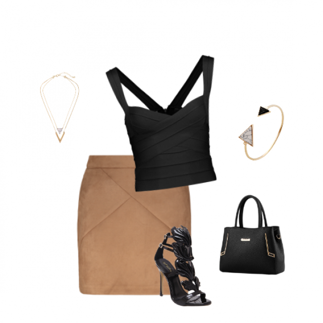 #outfit #black #beige