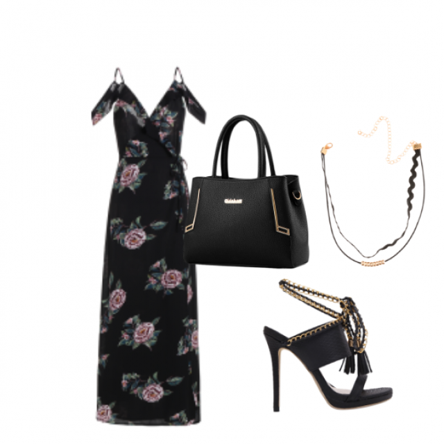 #cute #formal #goingout #floralprint #heels #armbag #necklace #offtheshoulder #maxidress #black #follow #like #comment