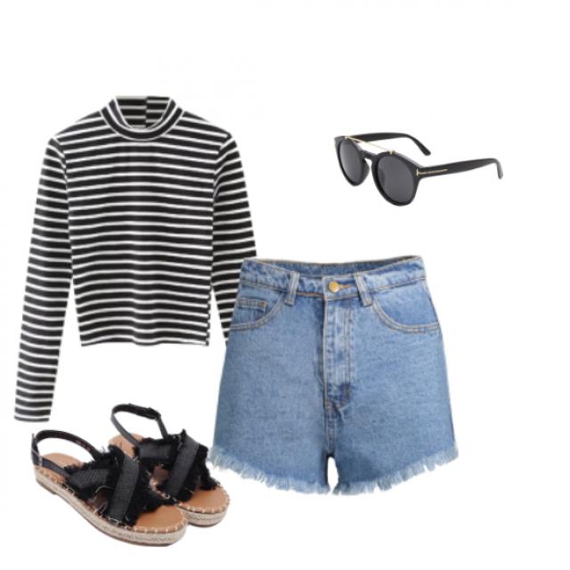 #glasses #denim #shorts #stripes