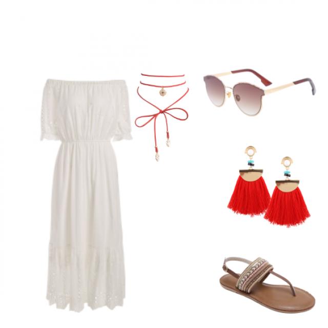#summerlook #whiteredbrown #trendy #selenainspire