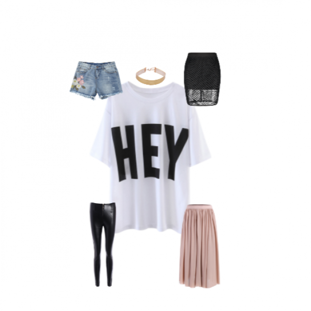 """So many ways to wear this white """"HEY"""" graphic tee! Go casual, edgy, or flowy. Whatever way you go, pair it wi…"""