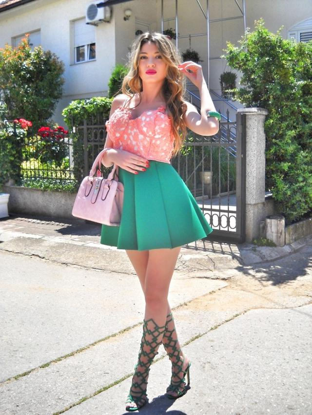 Green and pink      