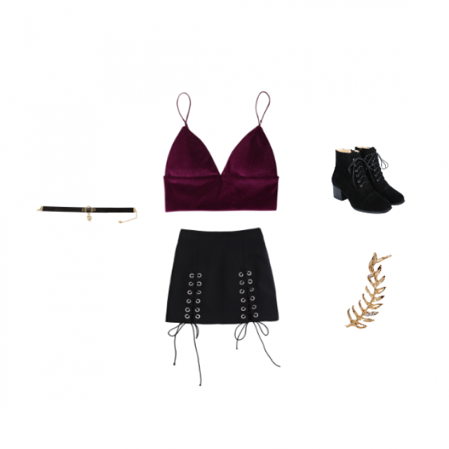 A night out on the town! Enjoy this luscious outfit on a night out. The boots are powerful. The top is sexy. The skirt