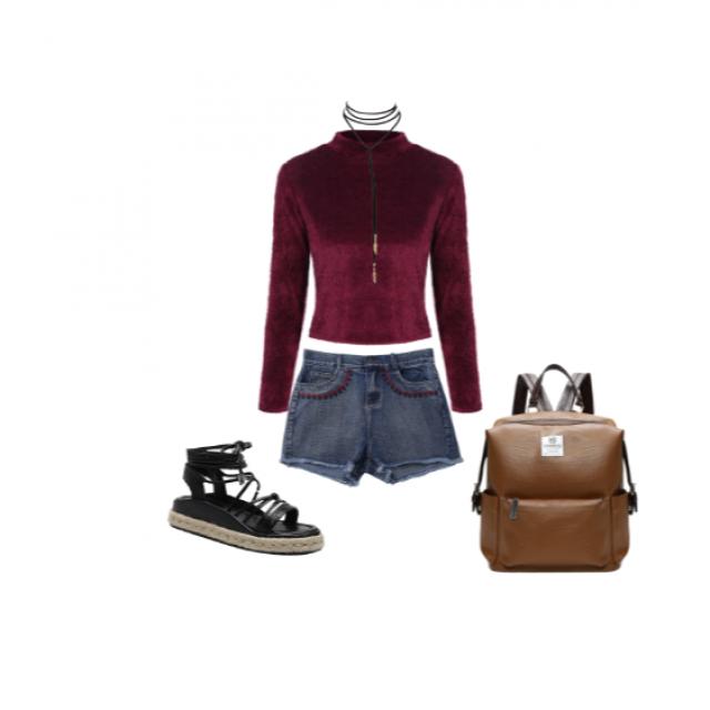 #burgundy #fur #leather
