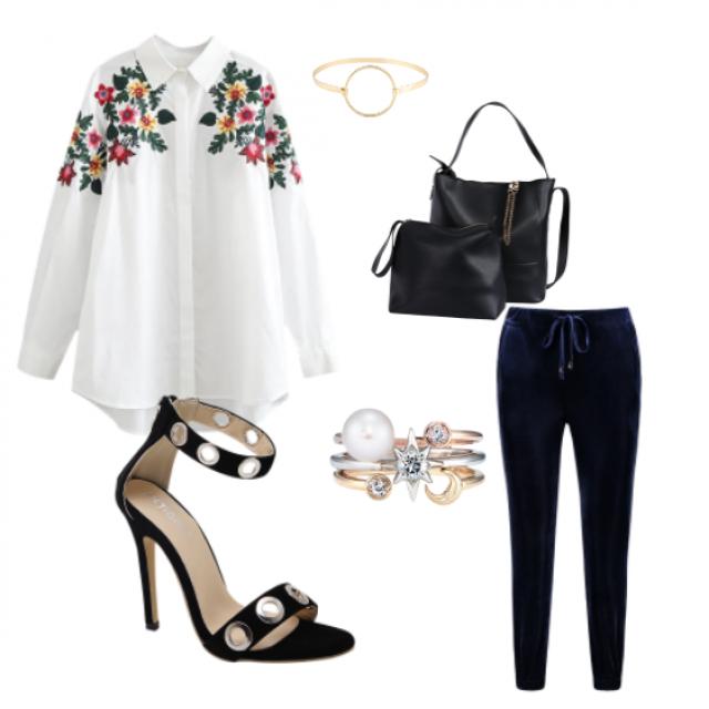 #sandals#pants#blouse#bag