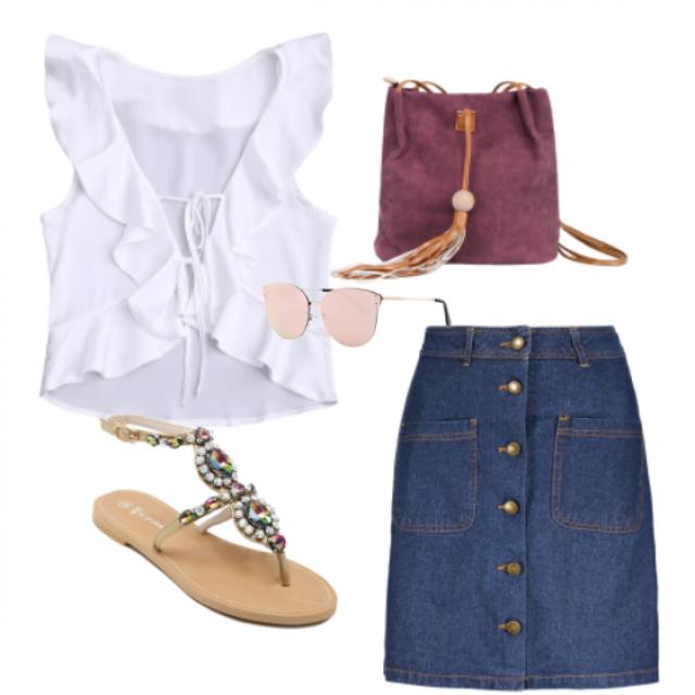 #skirt#sandals#top#bag#sunglasses