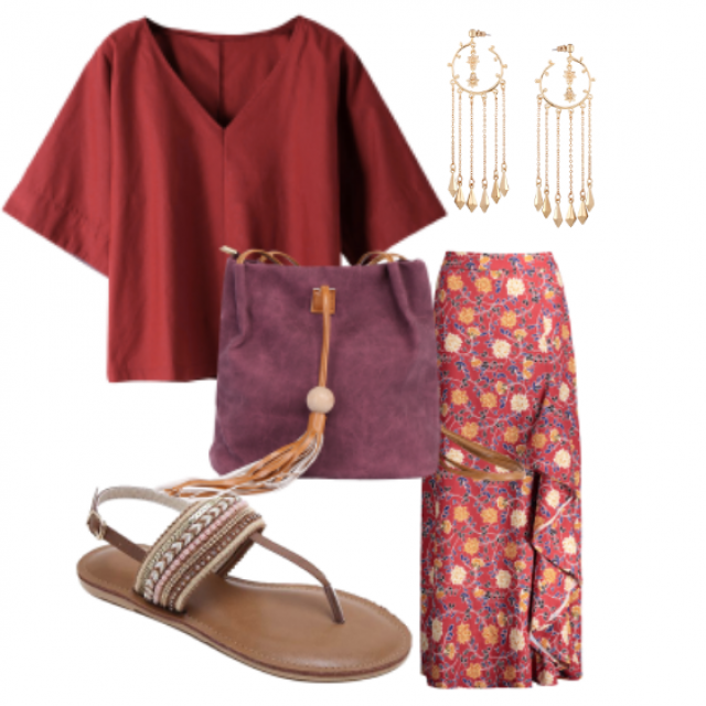 Summer ............#sandals#jewelry#skirt#top
