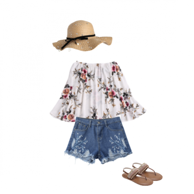 Say hello to this summer outfit. This white t-shirt with flowers gets really great summer (but also spring) vibes and