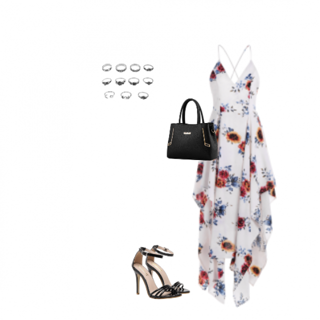 This perfect summer dress is great for a hot day in a town, what do you think?  I love high heels with dress, it looks