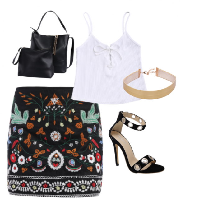 #skirt#bag#top#sandals