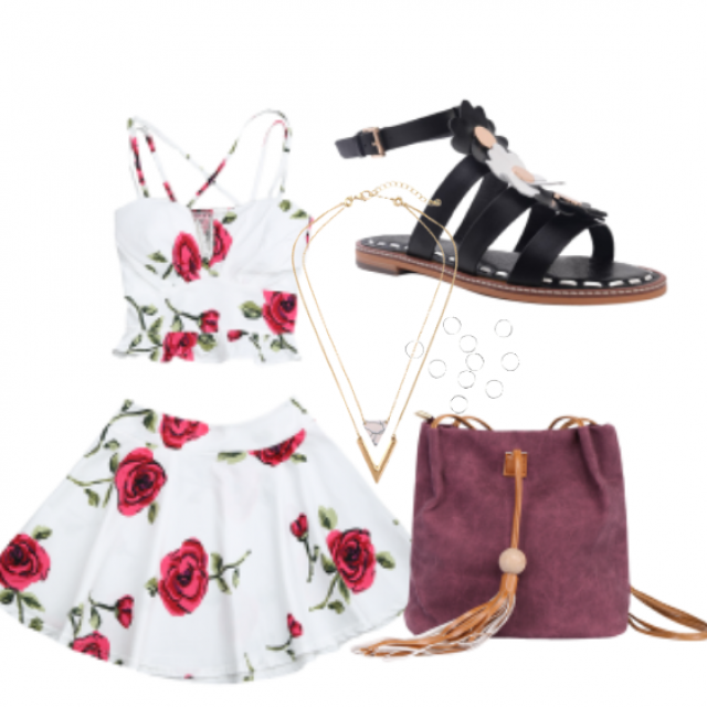#top#skirt#sandals#bag#Jewelry