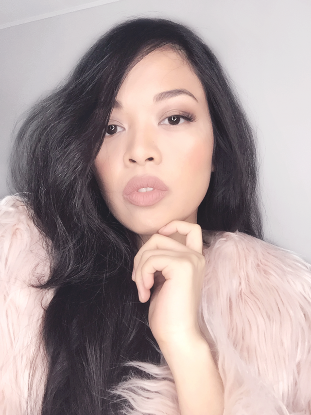 my nude pink makeup look. fur jacket from , lip cream sleek birthday suit :) IG : queenofallyousee