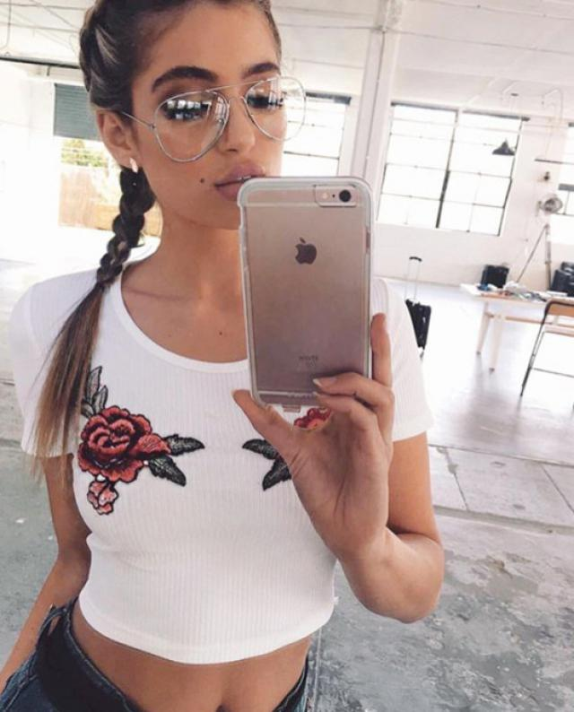 Rose embroidered crop top
