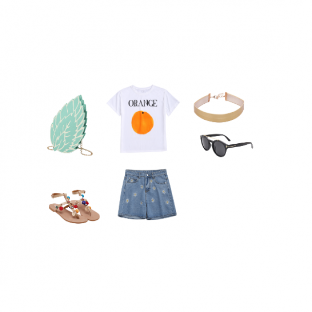 pair it with a high messy bun. I\'m assuming the shorts are high waisted, this is fun and personable for the summer.