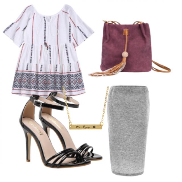 #sandals#skirt#top#Jewelry