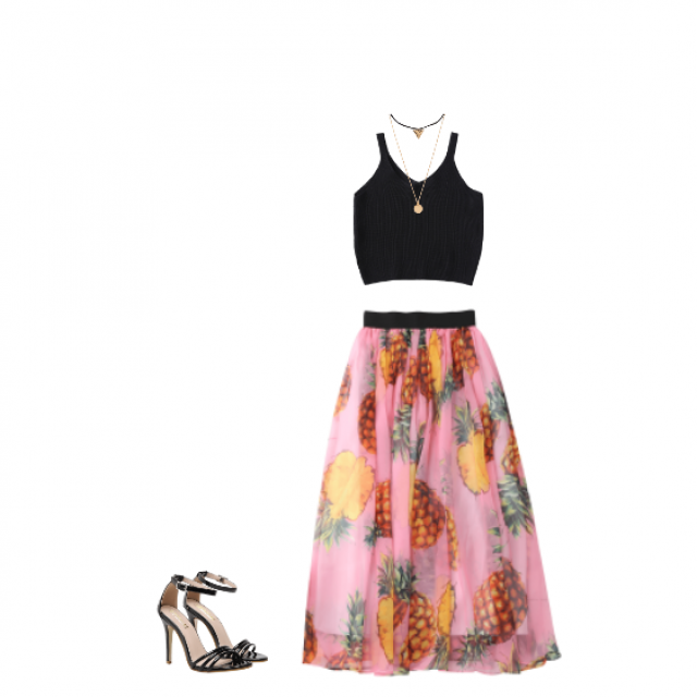 First of all I want to say, that I love how it gives you real summer vibes. The skirt is awesome and I love the