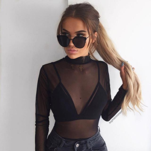 Sheer blouse is so sexy #fashion #style #trend #black #sexy