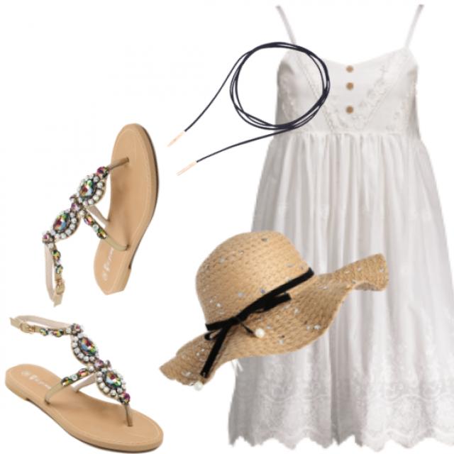 #choker #whitedress #sandals