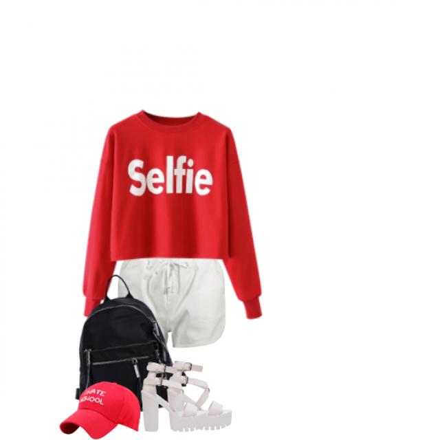 #red #white #summer #selfie