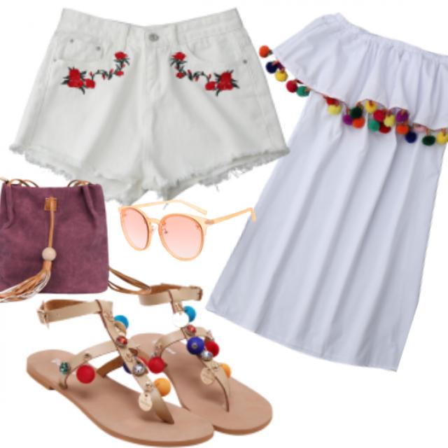 #dress#top#sunglasses#sandals#bag#shorts