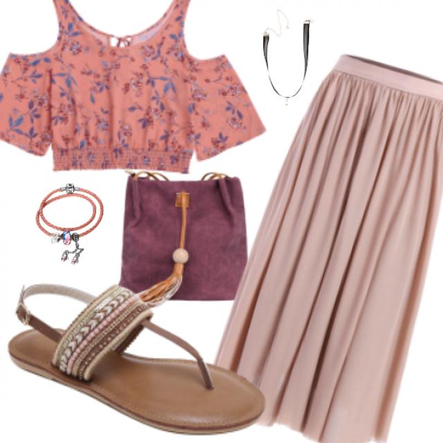 Street Style #dress#bag#sandals#jewelry#top