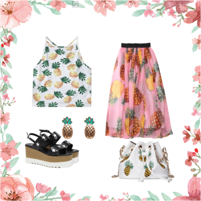 #pineapple #summer #summeroutfit #skirt #top #bag #shoes