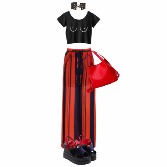 #outfit #zaful #pants #red #rendandblack #stripes #grunge #rock