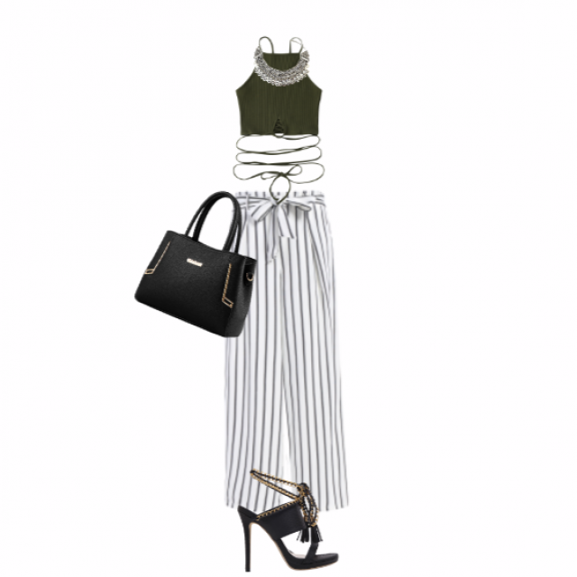 #stripes #bow #blackandwhite #pants #summer #highheels #croptop #necklace #classic #elegant