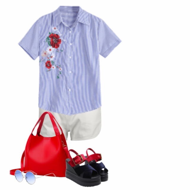#summer #white #red #blue #casual