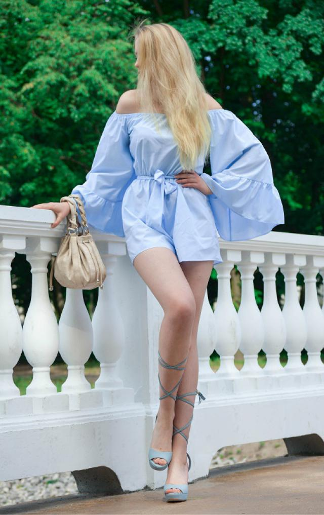 Baby blue outfit. #julyblue #romper #babyblue #summer #holiday #ootd #zafulhits #shoeslover #gotolook #love #blue