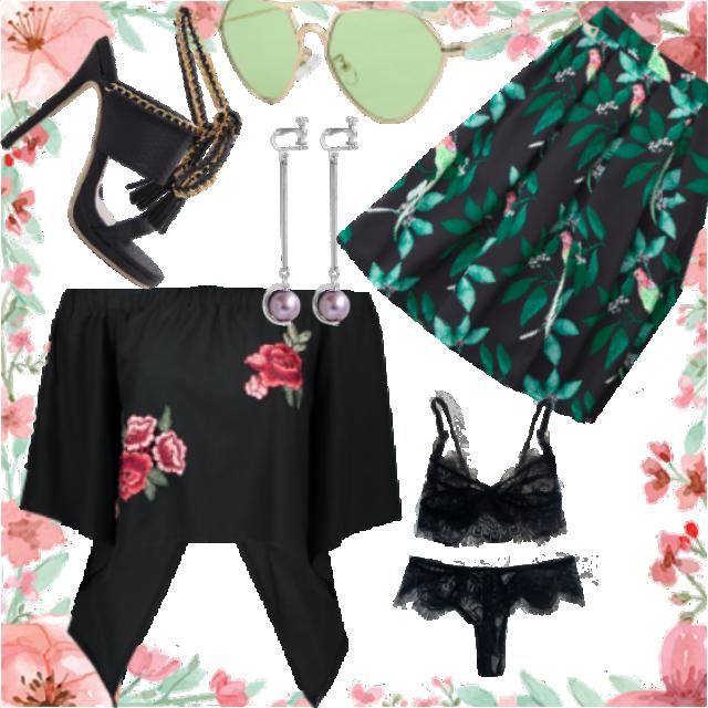 #skirt#sunglasses#bra#sandals