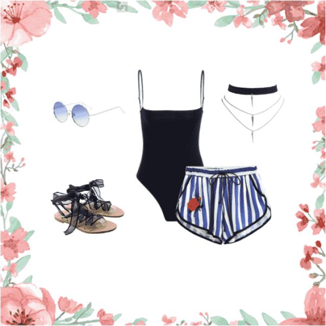 #black #white#summer #choker #sunglasses #blue #rose #body #sandals