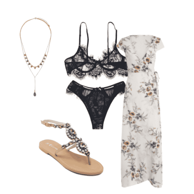 #summery #maxidress #floralprint #sandals #lacylingerie #black #white