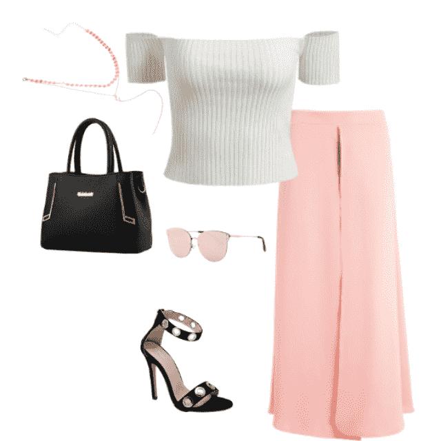 #blushpink #offtheshoulders #heels #goldjewellry #notenoughshoechoices #notenoughbagoptions