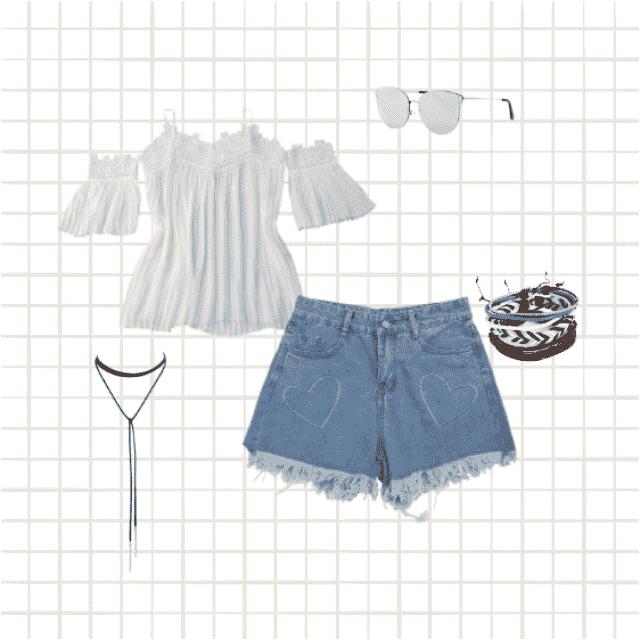 #fashion #lacey #shorts #denim #bracelets #roseshades #hearts #lovehearts