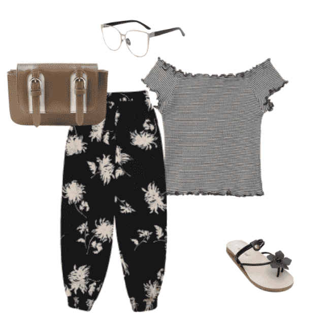 #frills #floralprint #floral #fauxleather #purse #flowers #clearglasses #comfortable #pants