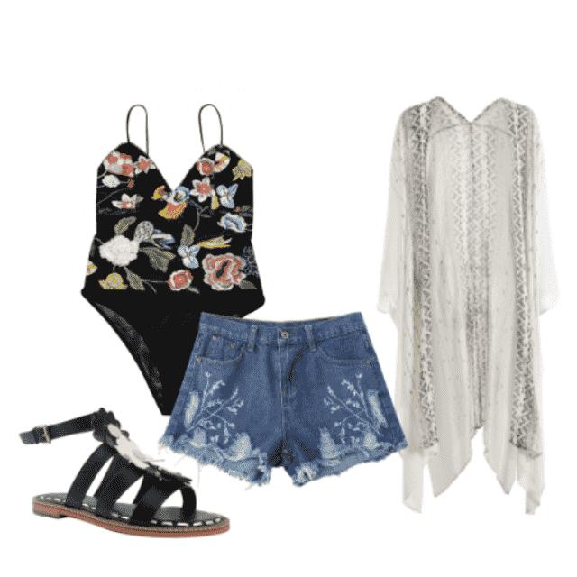 #floral #lace #floralprint #denim #shorts #sandals #bodysuit #black #flowers