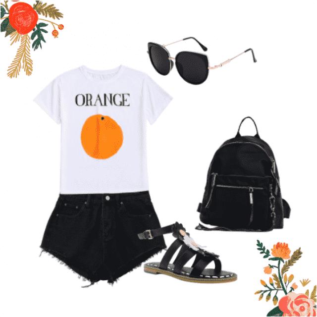 #shorts #sandals #fruit #orange #backpack #tshirt