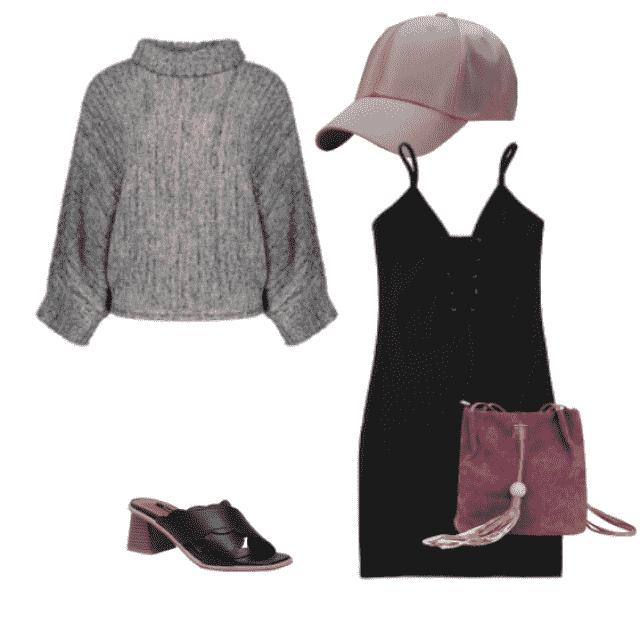 #jumper #hat #lbd #littleblackdress #casualdress #shoulderbag #effortless