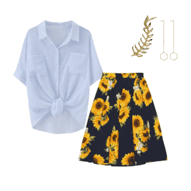 #sunflowers #skirt #midiskirt #floralprint #lightshirt #earrings #earcuff #gold
