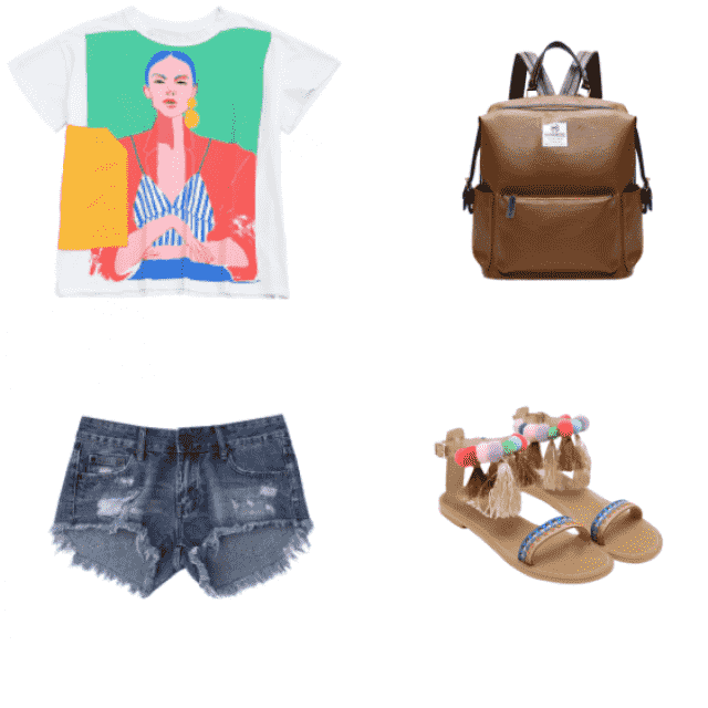 Wear this outfit on a hot summer day the cute bohemian style shoes along with the backpack your ready to go for the