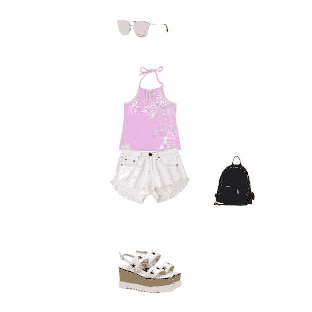 a halter top and a short makes the casual summer outfit, plus some bag and the sunglasses that make the outfit standout