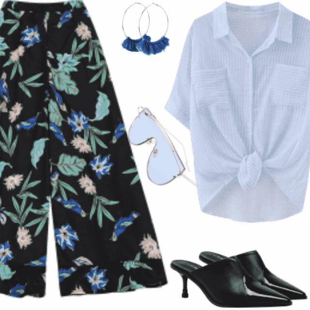 #floralpants #stripedblouse
