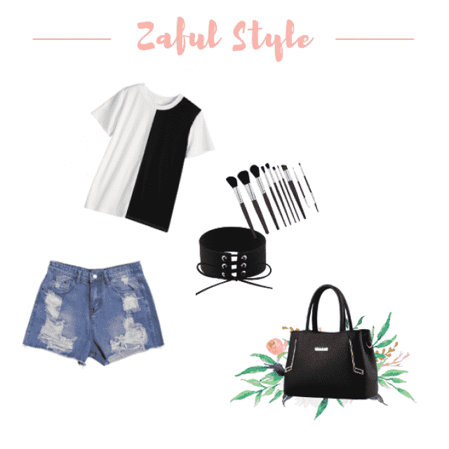 Go shopping in a B&W tee tied up with a belt corset and a stylish pair of denim