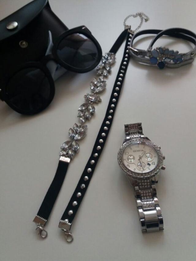 #sunglasses #choker #bracelets #watch #newin