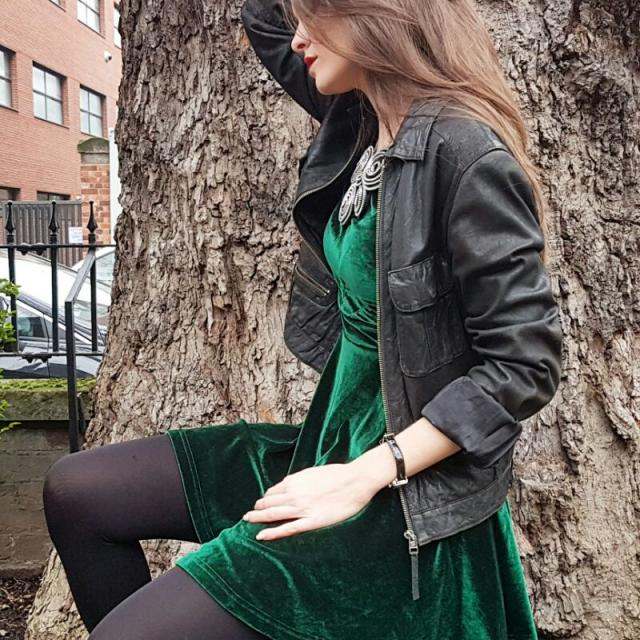 velvet green dress