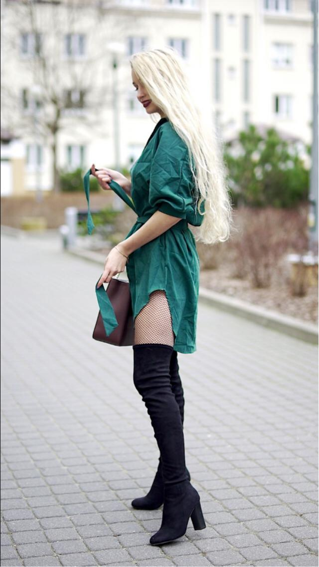 Love this outfit ❤ What do you think? #dress #zaful #style #fishnets #boots #heels #bag
