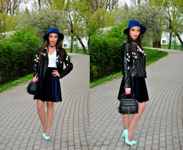#hat #embroidered #leather #jacket #skirt #velvet  #bag