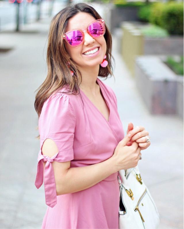 Wearing Zaful pink sunglasses. Glassofglam.com